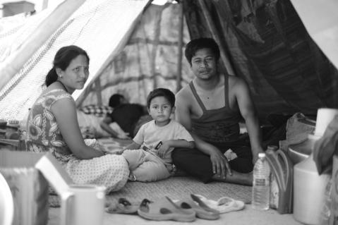 A Kathmandu family at a tent camp